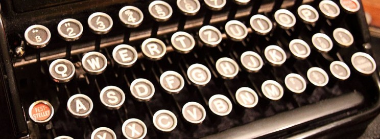 close up of an old fashioned typewriter keyboard